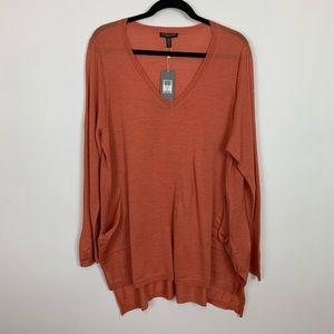 Eileen fisher v-neck loose tunic top orange 1x